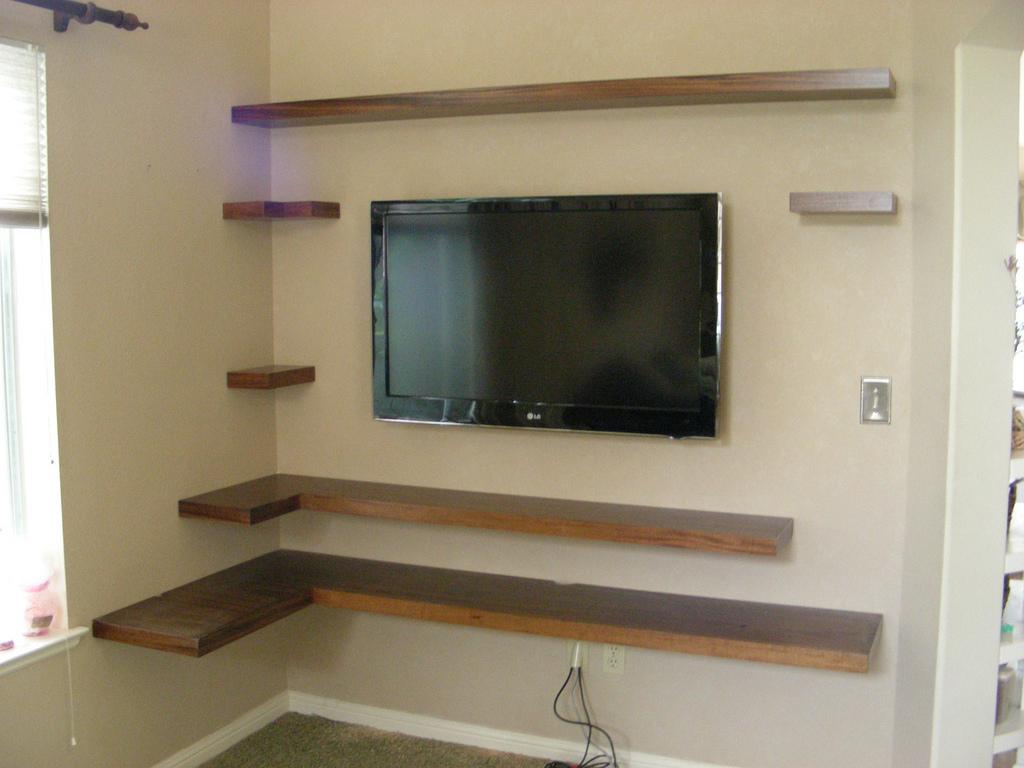 mahogany floating shelves. Black Bedroom Furniture Sets. Home Design Ideas