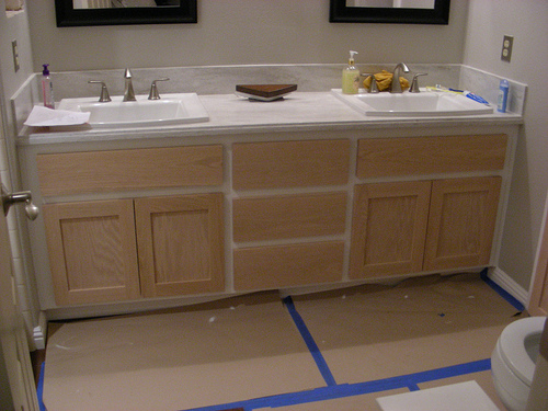 Painted Cabinets With Stained Doors New